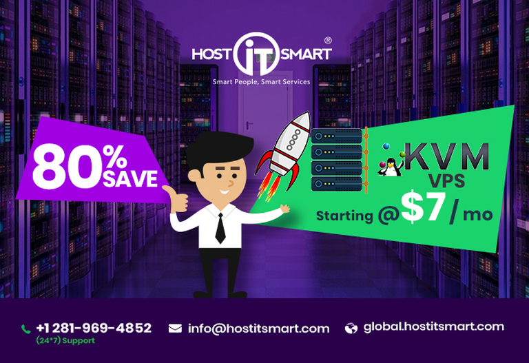 Get 80% Off on KVM VPS Server Hosting starting @ $7/mo